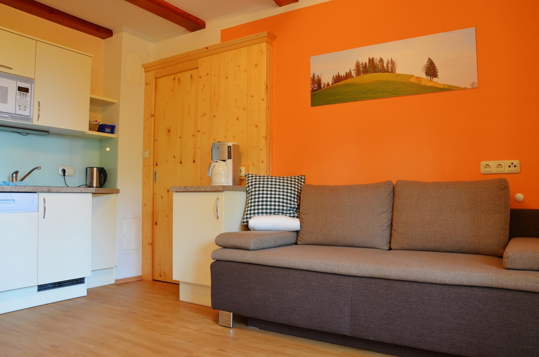 Wohnkuche Mit Sofa Zum Relaxen Und Tv In Der Ferienwohnung